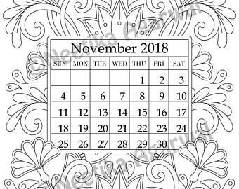 November 2018 Coloring Page Calender Planner Doodle Flowers Instant Download Printable Digital Download Only Coloring Pages Calender Hanging Calendar