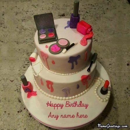 Cool Write Name On Makeup Birthday Cake With Images Makeup Birthday Funny Birthday Cards Online Drosicarndamsfinfo