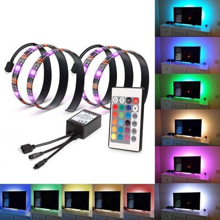 Kohree 2 Rgb Multi Color Led Light Strip Bias Lighting For Hdtv Usb Powered Tv Backlighting With Remote Con Multi Color Led Lights Behind Tv Led Strip Lighting