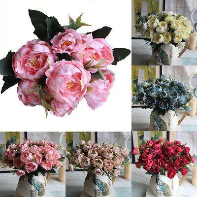 8 Heads Silk Peony Artificial Flowers Peony Wedding Bouquet Home Party Decor