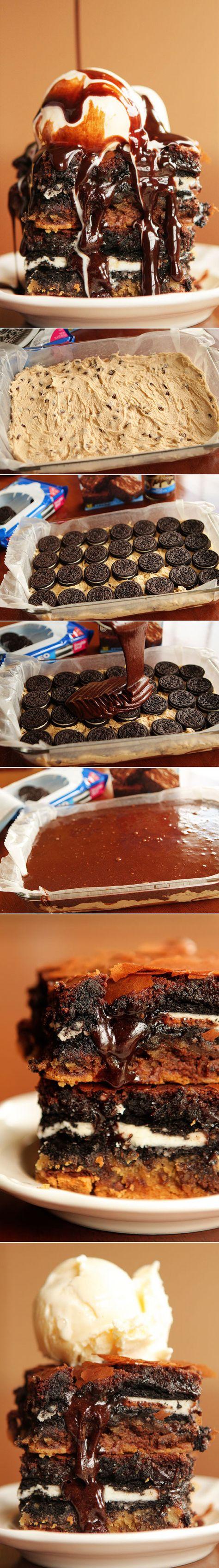 Ultimate Chocolate Chip Cookie n' Oreo Fudge Brownie Bar ~ Cookie Dough + Oreos +, Brownie Batter!! This is the original recipe!