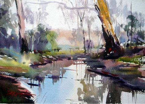 watercolor paintings | David Taylor. Catching.The.Morning.Light.38x22