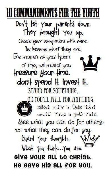 Youth 10 Commandments