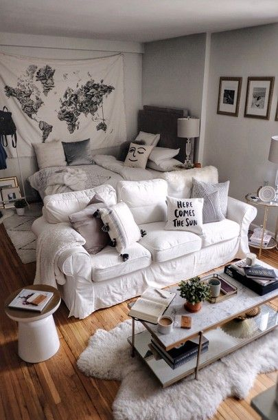 All Details You Need to Know About Home Decoration - Modern Cozy Studio Apartment, Tiny Studio Apartments, Small Apartment Interior, First Apartment Decorating, Small Apartment Living, Small Apartment Layout, Studio Decorating, Modern Apartments, Apartment Ideas