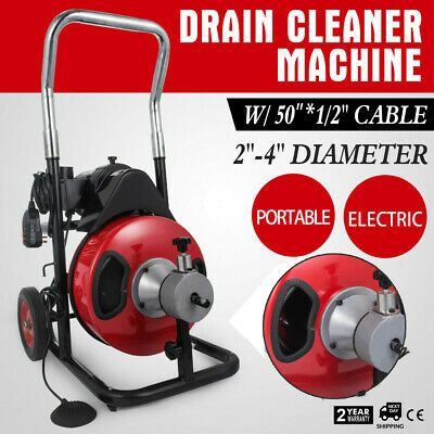 Sponsored Ebay Commercial Drain Cleaner 50ft X 1 2 Drain Cleaning Machine Snake Sewer 5 Cutter Drain Cleaner Cleaning Walls Cleaning
