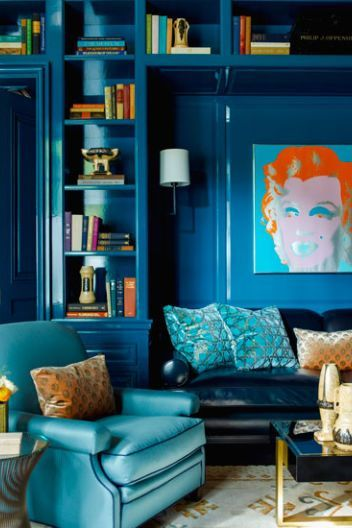 Here Are 45 Stylish Home Libraries For The Fantasy File Blue Living Room Home Decor Blue Rooms
