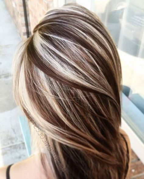 Glossy Medium Length Hair Silky And Straight Chocolate Brown With Platinum Blonde Highl Brown Hair With Blonde Highlights Brown Blonde Hair Blonde Highlights