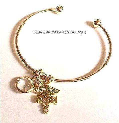 RN Charm Bangle Personalized RN Gift RN Medical Charm Jewelry Caduceus Charm Jewelry Nurse Graduation Gift Registered Nurse Bracelet