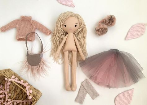 rag doll eco toy for babies soft toy gift girl plush softie toy personalized gift DOLL baby girl gift toy Blonde Fabric Doll modern eco toy