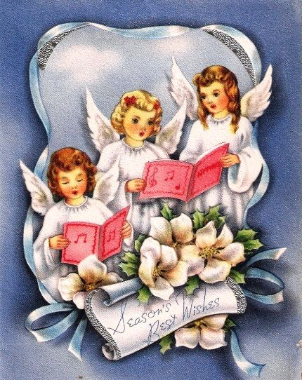 Vintage Christmas Card Unused Little Angels by TheVintageGreeting ...