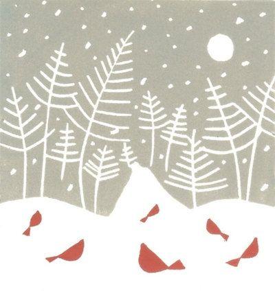 Snow Path Print -Linocut- Original Hand Pulled Block Print - Woodland  Birds & Trees - Mid Century Modern Inspired Art. £30.00, via Etsy.