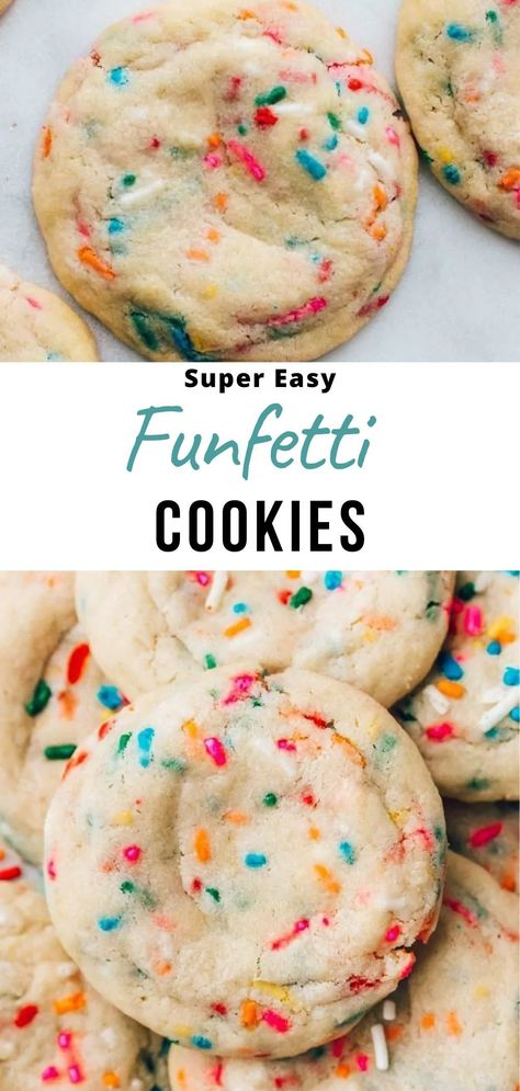 This is my favorite recipe for funfetti cookies. They are super soft and chewy sugar cookies dotted with sprinkles, and they have an amazing buttery vanilla flavor. So simple to make using pantry ingredients and kids can help baking these!  #cookies #funfetti #easyrecipes #cookierecipes #birthdayparties
