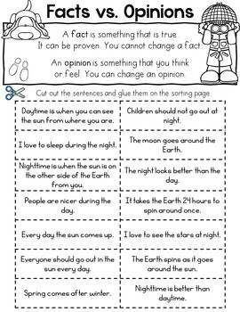 Day And Night Fact And Opinion Sort Fact And Opinion Writing Lessons Facts