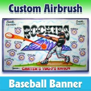 Airbrush Rockies Baseball Team Banner 1007 Our Artist Will Use This Sample As A Reference But Will Incorporate Your Baseba In 2020 Baseball Banner Baseball Team Banner