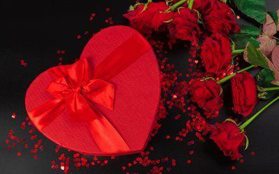 تحميل خلفيات هدية رومانسية قلب أحمر هدية مربع الورود الحمراء عيد الحب الحرير الأحمر القوس خلفية رومانسية الحب المفاهيم Besthqwallpapers Com Heart Gift Box Valentine Romantic Gift