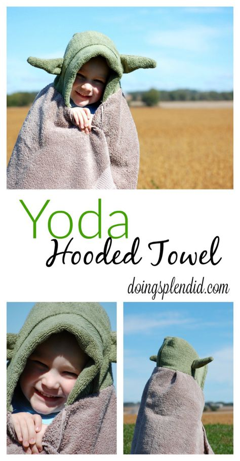 Just in time for new Star Wars movie...the Yoda Hooded Towel! A complete step-by-step guide to create your own Yoda Hooded Towel. FREE pattern included! :) http://doingsplendid.com