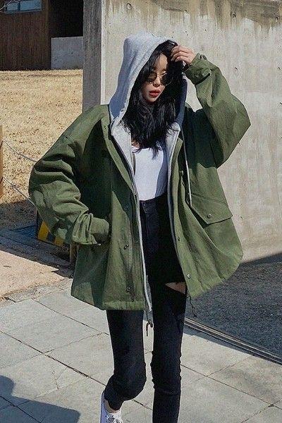 LAGIRL Detachable Hoodie Military Look Jacket - Korean Clothing & Cosmetics