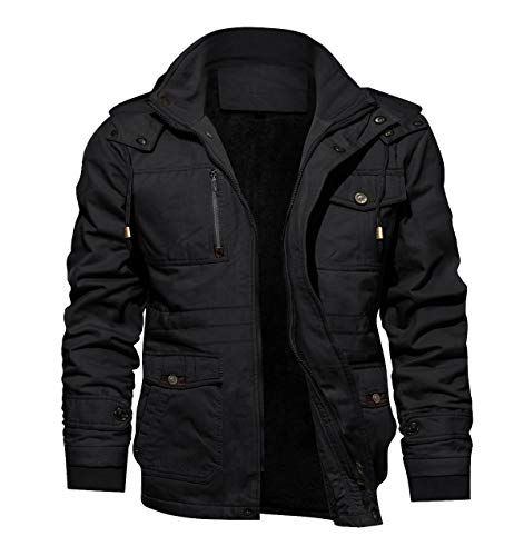 TACVASEN Mens Faux-Leather Jacket Motorcycle Biker Jackets with Removable Hood