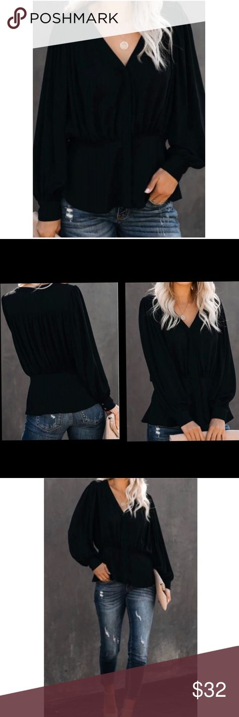 🖤NEW ITEM🖤 Black Button-Down Pleated Blouse ▪️V-neckline  ▫️95% Polyester/5% Spandex ▪️Can be worn all year round ▫️Workplace-chic style Tops Blouses
