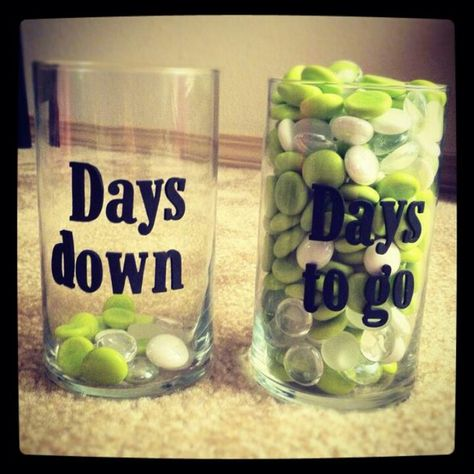Countdown idea. I like this idea because oftentimes it is encouraging to see how may days you've made it so far! - Charity