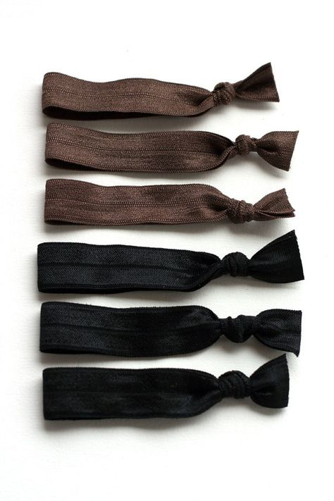 The Professional Hair Tie Package - 6 Black Brown Neutral Elastic ... 7bf36e29670