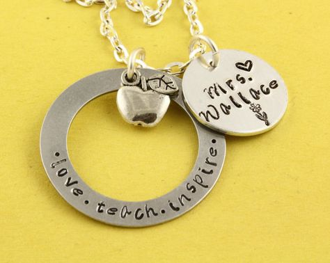 Christmas Gift for Teacher - Personalized Custom Apple Necklace - Thank You Gift from Child on Etsy, $17.00