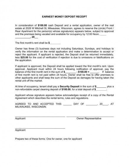 Earnest Money Letter Beautiful Receipt Deposit Letter Examples Template Car For Rent Resignation Letters Formal Business Letter Lettering