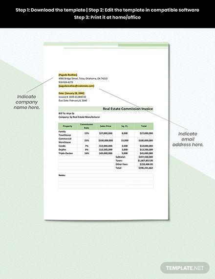 Real Estate Commission Invoice Template Free Pdf Google Docs Google Sheets Excel Word Template Net Invoice Template Letterhead Template Templates