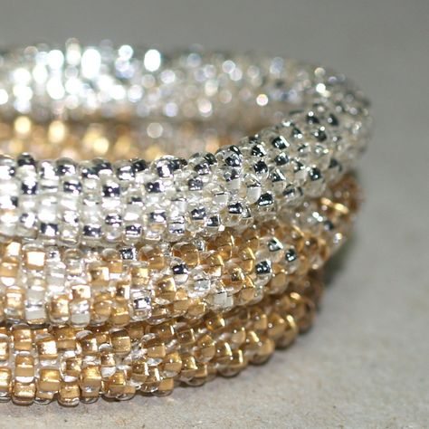 Triplets - Shiny ... Set of three bead crochet bangles made from super shiny, sparkly seed beads (say that three times, fast!).  :-)