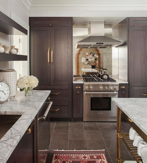 Beautiful Kitchen Features Dark Brown Stained Cabinets Adorned With Brass Cup Pulls Topp Brown Kitchen Cabinets Dark Brown Kitchen Cabinets Dark Brown Cabinets