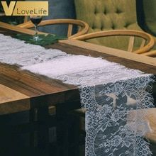 Vintage Floral White Lace Table Runner Home Boho Theme Party Wedding Decoration