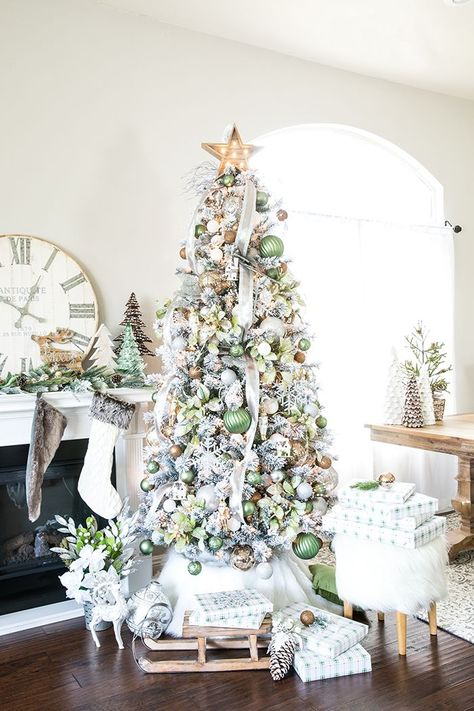 Metallic Winter Wonderland Christmas Tree – create a flocked winter wonderland Christmas tree with green and metallic ornaments, and rustic wood decorations.