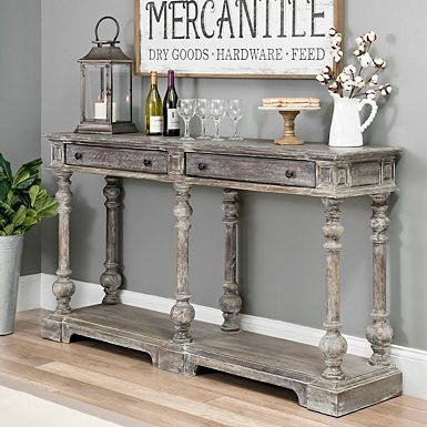 Distressed Gray Wood 2 Drawer Console Table Dining Room Console Table Dining Room Console Console Table Decorating