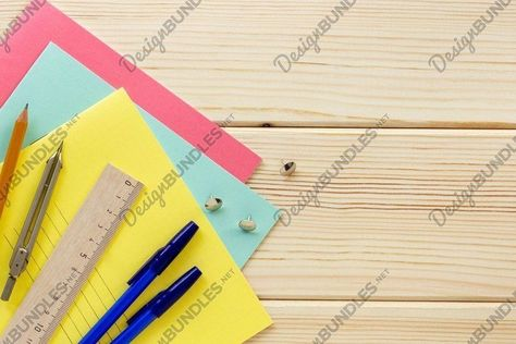 Back to school flat lay. Stationery on a wooden background (839487)   General   Design Bundles