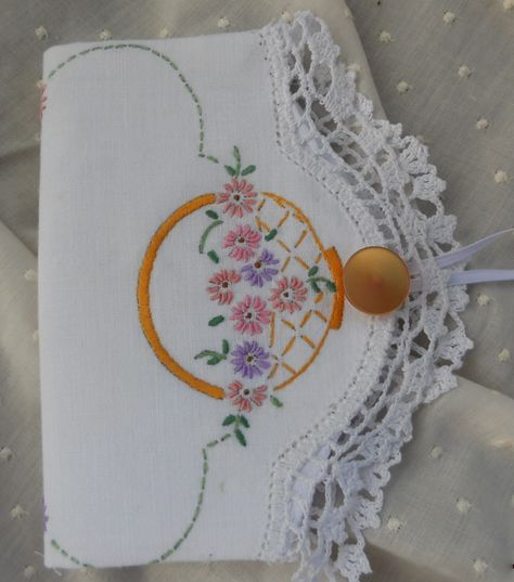little vintage doiley made into a needle case.