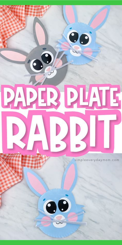 Want a fun and easy Easter craft for kids? This paper plate bunny craft is perfect! Download our free printable template and make at home or at school. It's great for preschool, kindergarten and elementary children. #simpleeverydaymom #paperplatecrafts #eastercrafts #springcrafts #animalcrafts #eastercraftsforkids #kidscrafts #craftsforkids