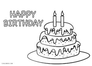 Birthday Cake Coloring Page Happy Birthday Coloring Pages