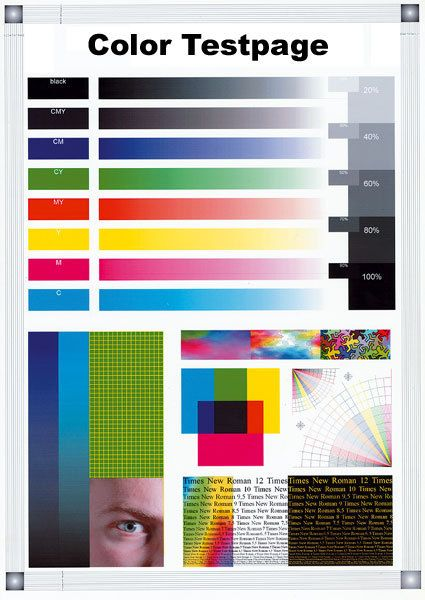 Color test page for image scanners and printers Does your