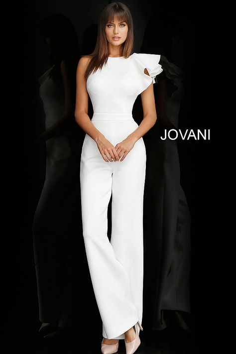 jovani White Sleeveless Ruffle Shoulder Bridal Jumpsuit 57239
