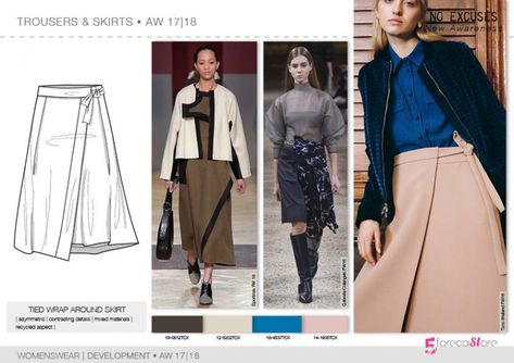 Trousers & Skirts flat drawings, vector technical sketches for Fall winter Trend forecasting by