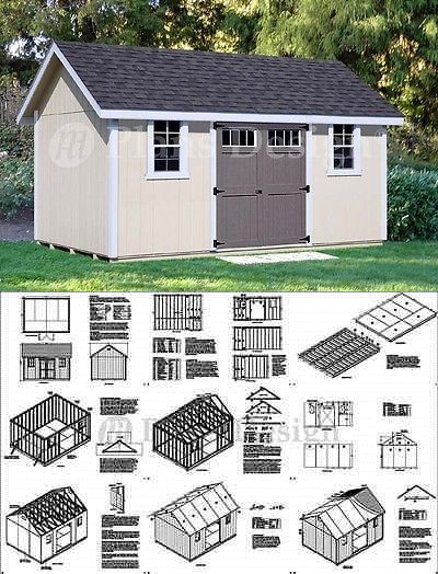 Backyard Storage Shed Plans 12 X 16 Gable Roof D1216g Material List Included Backyard Storage Sheds Backyard Storage Shed