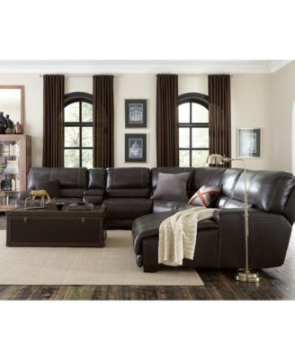Nice Warrin 6 Pc Leather Sectional Sofa With Chaise, Console U0026 1 Power Recliner
