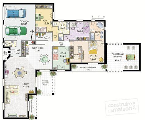 Villa de plain-pied Villas and House - plans de maison gratuit plain pied