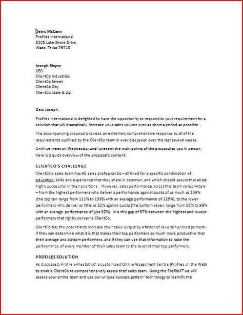Sample Proposal Cover Letter Business Proposal Letter Business