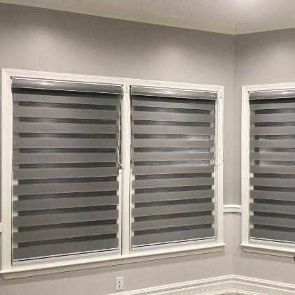 Custom Size Basic Horizontal Zebra Blinds Windows Max Width 93