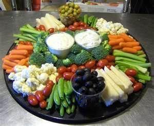 veggie tray & dips -- arranged beautifully                                                                                                                                                      More