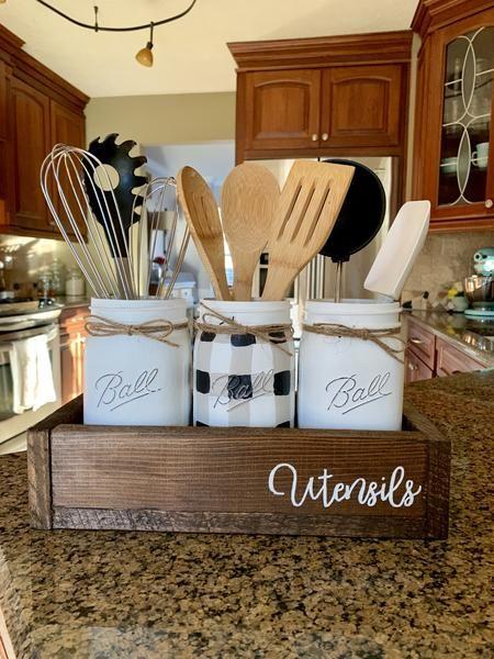 Black And A White Gingham Buffalo Plaid Utensil Canister Set Kitchen Decor Themes Farmhouse