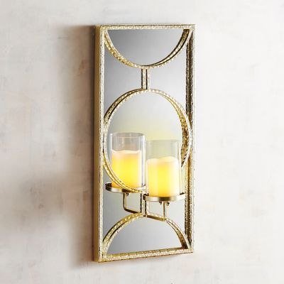 Crafted With An Iron And Glass Design Our Wall Sconce Reflects An Art Deco Influence And Creates A Spe Mirror Candle Holders Candle Mirror Wall Candle Holders