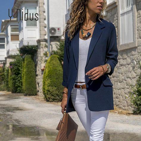 Slim Blazers Women Autumn Suit Jacket Female Work Office Lady Suit Black None Button Business Notched Blazer Coat Fashion Zevrez
