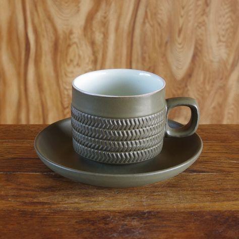 イギリス製ビンテージ食器 デンビー Denby Chevron コーヒーカップ ソーサー 180608 アンティーク レトロ シェブロン 陶器 Flohmarkt フローマルクト カップ ソーサー コーヒーカップ シェブロン